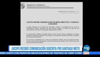 Jucopo recibe comunicación suscrita por Santiago Nieto