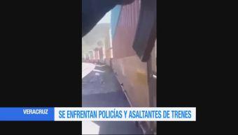 Saqueadores de trenes y policías se enfrentan en Veracruz