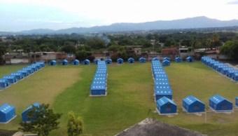 48 familias son instaladas en un albergue en zacatepec