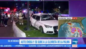 Automovilista Choca Glorieta Palma Cdmx Madrugada