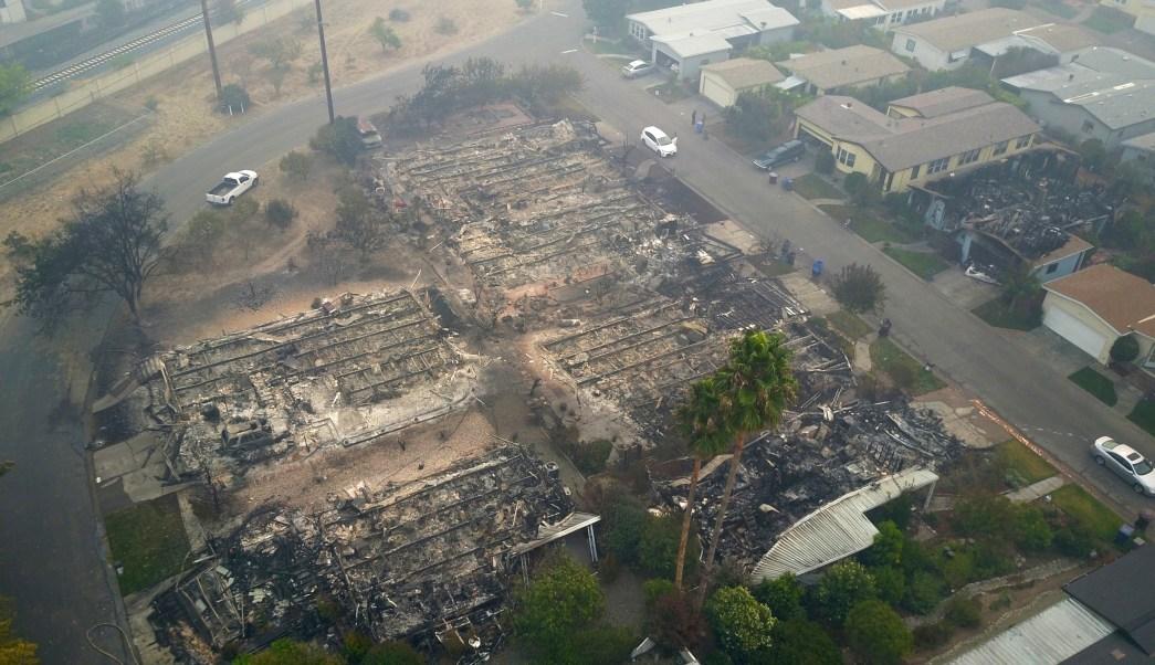 incendios forestales, destrucción California, video dron, zona desastre