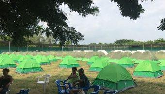 Viento afecta a damnificados en campamentos de Juchitán, Oaxaca