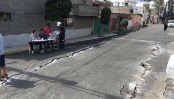 Grietas en colonia del Mar, Tláhuac, tras sismo del 19-S