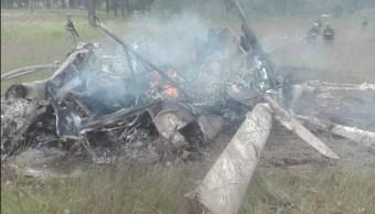 Desploma helicóptero de la Sedena en Durango