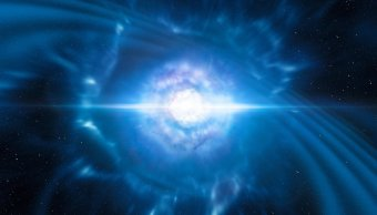 Imagen virtual de explosión kilonova, colisión de estrellas de neutrones