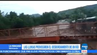 Lluvias Desbordan Río Michoacán La Huacana Desbordamiento