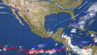 mapa con el clima para este 19 de octubre