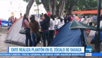 CNTE instala plantón en el Zócalo de Oaxaca