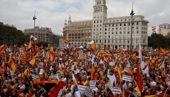 Protestas en Barcelona en favor de la unidad espanola