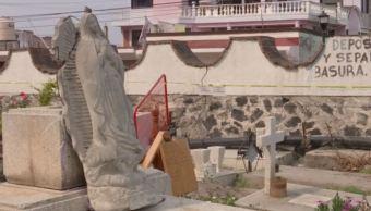 Sismo afecta barda del Panteón de San Andrés Mixquic en Tláhuac