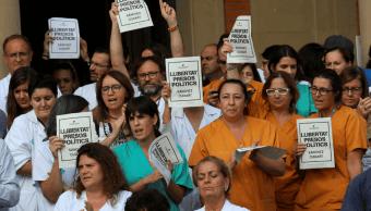 Trabajadores de salud se unieron a la protesta para exigir la liberación de los líderes independentistas