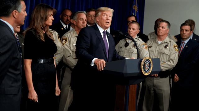 Trump y su esposa Melania durante su visita a Las Vegas