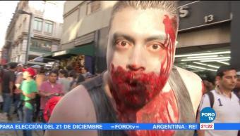 10 mil personas participan en 'Marcha Zombie' en la Ciudad de México