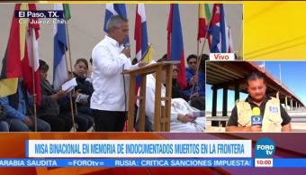 Realizan misa en memoria de migrantes en frontera de México