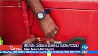 Aseguran pipa con diesel robado en Guanajuato