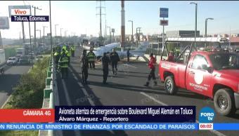 Tres lesionados tras aterrizaje de avioneta en Toluca, Edomex