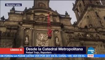Remueven esculturas de Catedral de la CDMX