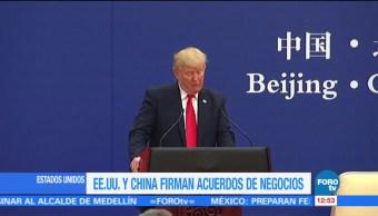 Trump y Xi Jinping firman acuerdos de negocios