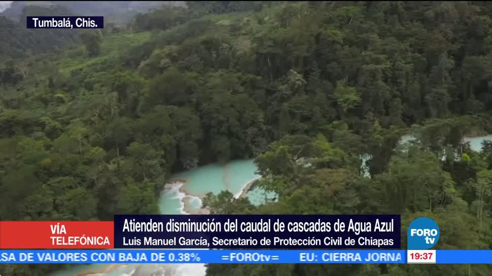 Atienden disminución de caudal en cascadas de Agua Azul