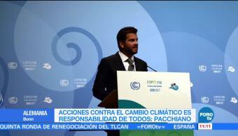 Pacchiano llama a acciones globales contra el cambio climático