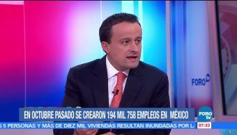 Mikel Arriola: En octubre pasado se crearon 194 mil 758 empleos