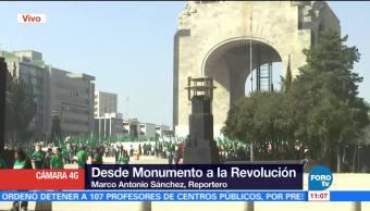 Manifestantes en el Monumento a la Revolución afectan la vialidad