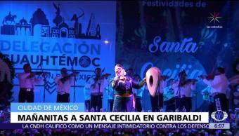 Mariachis cantan las mañanitas a Santa Cecilia en Garibaldi