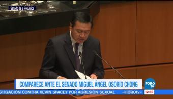 Osorio Chong comparece ante el Senado de la República