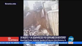 Confirman un desaparecido por derrumbe en Monterrey