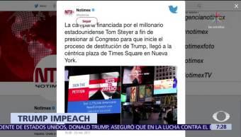 Mensaje en Times Square, cada diez minutos, pide destitución de Donald Trump