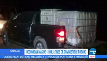 Aseguran más de 11 mil litros de gasolina robada en Sinaloa