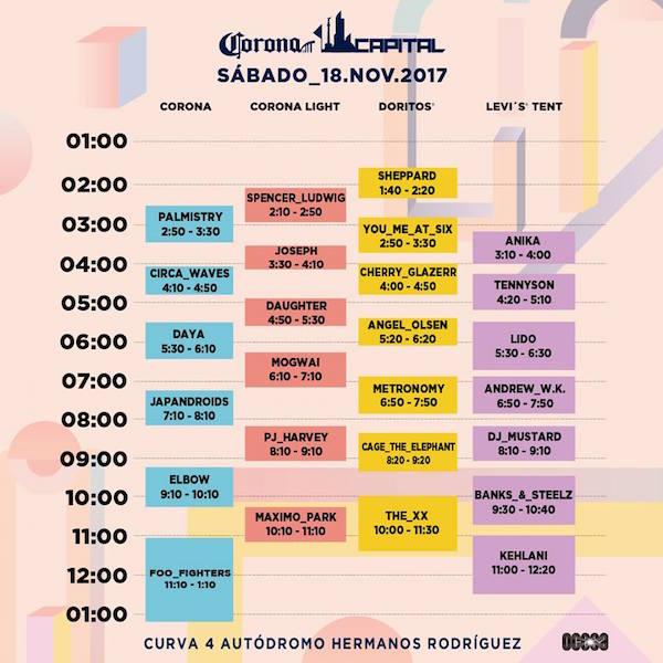 Horarios del Corona Capital 2017