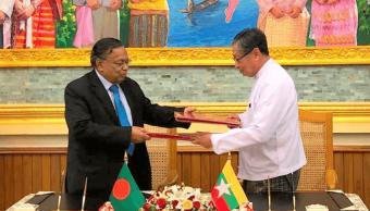 El canciller de Bangladesh y el ministro birmano