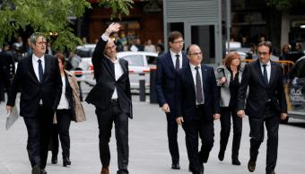Exconsejeros catalanes llegan a la Audiencia Nacional Espanola
