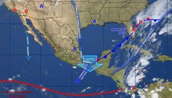 Mapa con el pronóstico del clima para este 24 de noviembre; frente frío 11 provocará bajas temperaturas. (SMN)