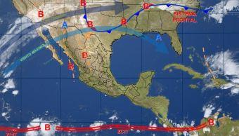 mapa con el pronostico del clima para este 7 de noviembre