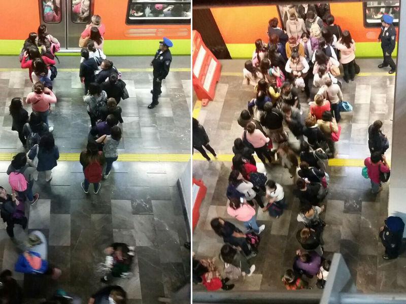 FOTO Hombres y mujeres viajan con féretro en Metro en la CDMX
