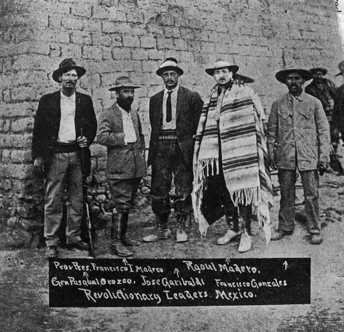 Pascual Orozco, Francisco I. Madero, Giuseppe Garibaldi II, Gustavo A. Madero y Francisco Gonzalez, líderes de la Revolución Mexicana
