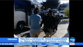 Trasladan 45 Internas Cereso Femenil Aquiles Serdán