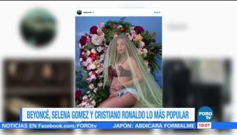 Beyonce, Selena Gomez y Christiano Ronaldo los más populares