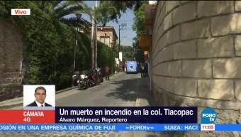Reportan un muerto por incendio en colonia Tlacopac de la CDMX