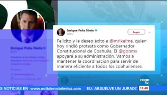 EPN felicita a Miguel Riquelme, gobernador constitucional de Coahuila