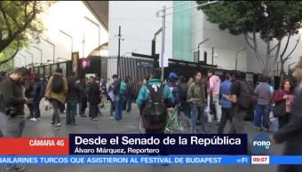 Concentración de manifestantes afecta vialidad en inmediaciones del Senado