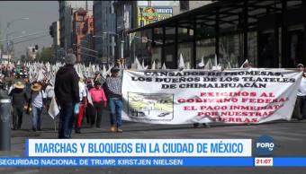 Marchas y bloqueos en la Ciudad de México