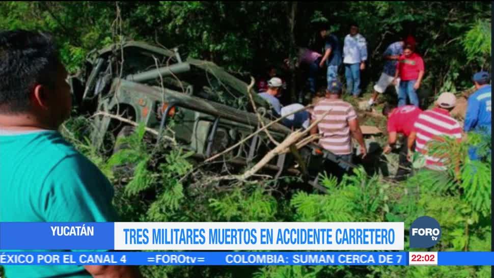 Tres militares muertos en accidente carretero en Yucatán