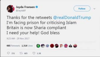 Quién es Jayda Fransen y por qué Trump la hizo famosa