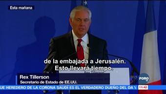 Tillerson dice que traslado de embajada a Jerusalén tardará dos años