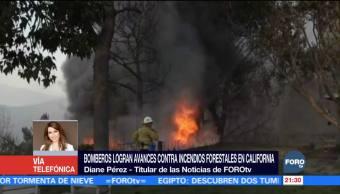 Bomberos logran avances contra incendios forestales en California