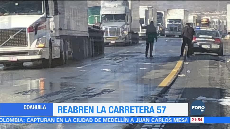 Coahuila reabre carretera 57 tras resultar afectada por intensa nevada