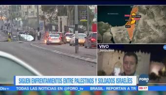 Siguen enfrentamientos entre palestinos y soldados israelíes